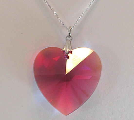 Bordeaux Aurora Borealis Crystal Heart Necklace