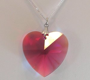 Bordeaux Aurora Borealis Crystal Heart Necklace
