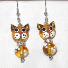 ARTGLASS LAMPWORK AMBER KITTY CAT CRYSTAL DANGLE EARRINGS
