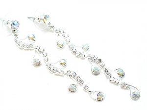Austrian Crystal AB Silver Dangle Earrings