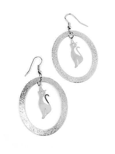 Silver Designer Style Kitty Cat Hoop Earrings