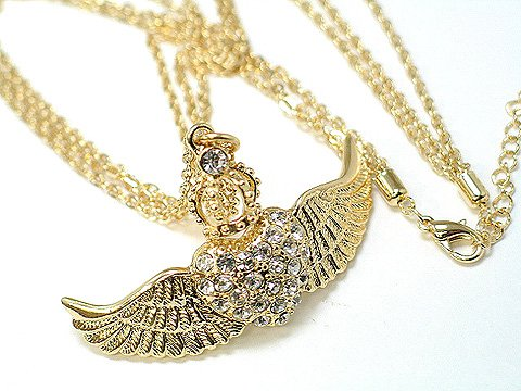 Austrian Crystal Gold Angel Wings Heart w/Crown Necklace