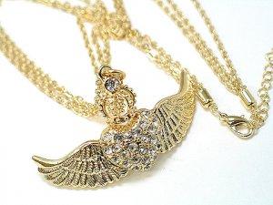 Austrian Crystal Gold Angel Wings Heart w/Crown Necklace
