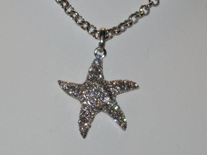 Designer Style Austrian Crystal Starfish Necklace