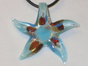 Murano Aqua Foil Artglass Starfish Necklace