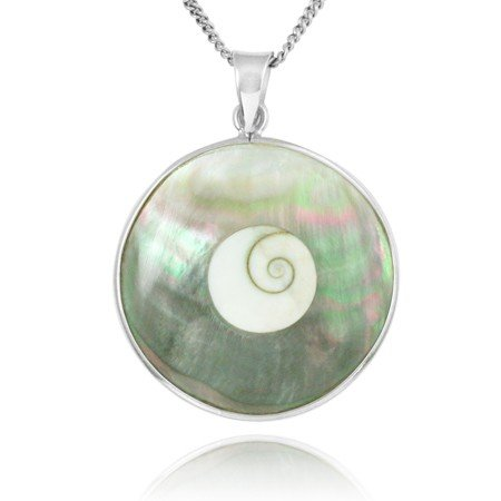 Shiva Eye Shell & Abalone Silver Necklace