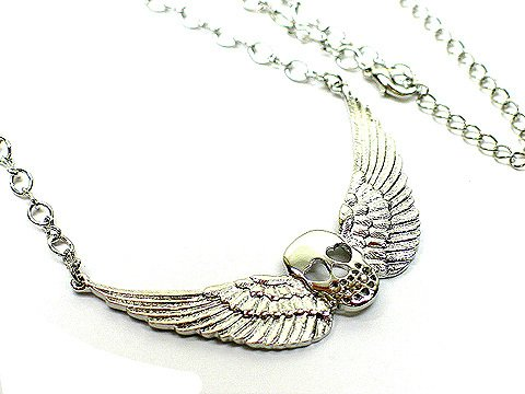 Crystal Skull with Wings Angel of Dealth Necklace