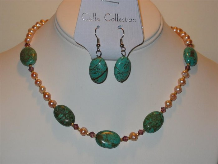Large Oval Turquoise,  Crystal & Fresh Water Pearl Necklace & Earring Set