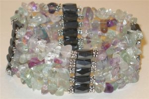 Genuine Chunky Flourite Magnetic Hematite Necklace