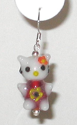 Adorable! Hand Blown Artglass Hello Kitty Dangle Earrings