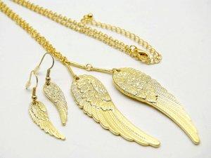 Gold Angel Wings Earring & Necklace Set