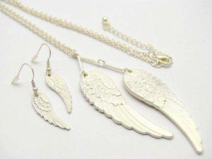 Silver Angel Wings Earring & Necklace Set