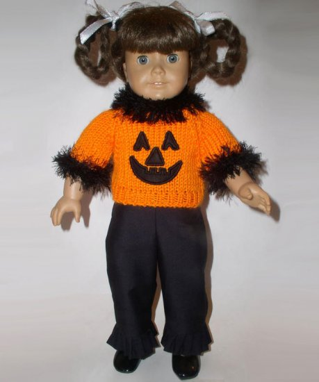 HAPPY HALLOWEEN Sweater and Ruffle Pant Set For 18 Inch Dolls Fits American Girl