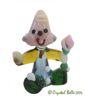 Art Glass Hand Blown Miniature Circus Clown with Flower Figurine