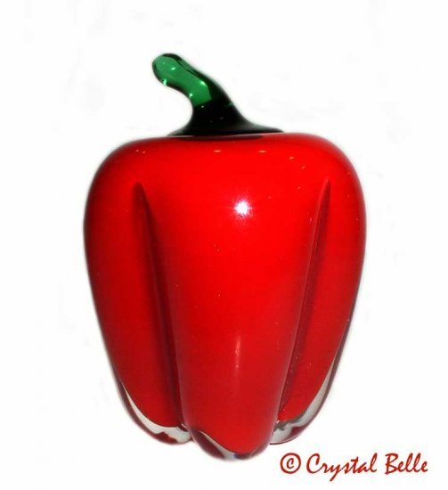 Art Glass Hand Blown Vegetable Paperweight Large Life Size Cany Red Bell Pepper