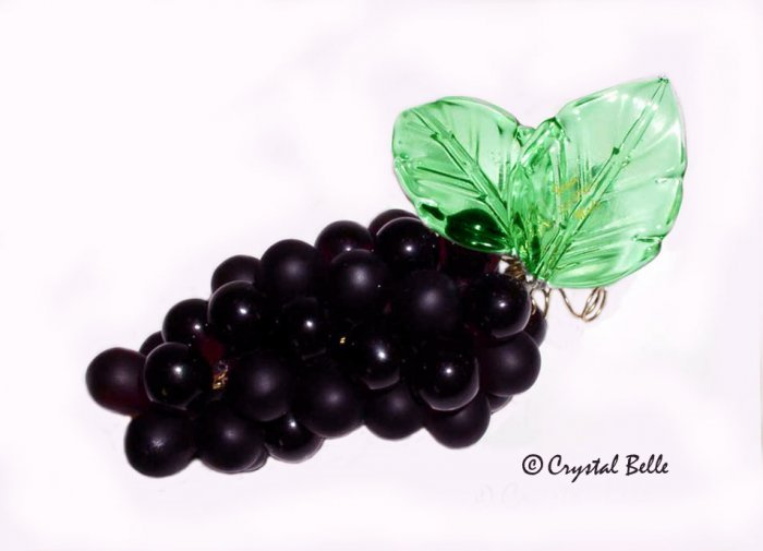 SOLD Art Glass Grape Cluster Bunch Medium Deep Purple Black Grapes