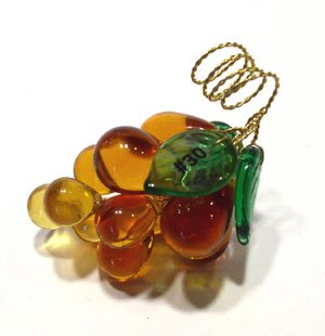 Art Glass Crystal Grape Cluster Bunch Miniature Golden Amber Grapes, Highly Polished Finish