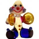 Art Glass Hand Blown Miniature Circus Musician Clown with Cymballs