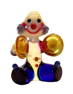 Art Glass Hand Blown Miniature Circus Musician Clown with Cymballs