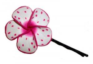 Cute Hawaiian hand made Plumeria Frangipani Flower Hair Pin White Pink Splatter