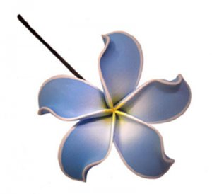 Hawaiian Plumeria Frangipani Flower Hair Bobby Pin Hand Made Baby Blue White