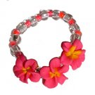 Cute Fun Hawaiian Hand Made Plumeria Frangipani Flower Stretch Ring Pink Yellow