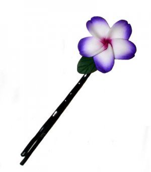 Hawaiian Plumeria Frangipani Flower Hair Bobby Pin with Leaf Purple