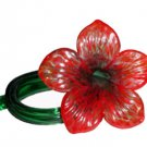 Art Glass Czech Free Form Hand Blown Flower Plumeria Red Emerald Green