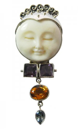 Stunning Sterling Silver Moon Goddess Pendant with Amethyst, Citrine and Blue Topaz Gemstones
