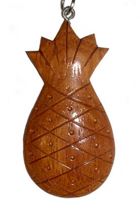 Hawaiian Hand Made Hardwood Pineapple Key Ring