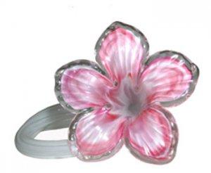 Art Glass Czech Free Form Hand Blown Flower Plumeria Light Pink Pure White