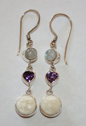 Stunning Sterling Silver Moon Goddess Dangle Hook Earrings w/ Amethyst Moonstone