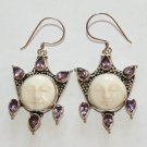 Spectacular Sterling Silver Moon Face Goddess Hook Earrings w/ Amethyst Gems