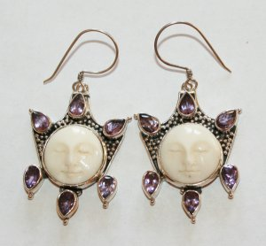 Spectacular Sterling Silver Moon Face Goddess Hook Earrings w/ Amethyst Gems