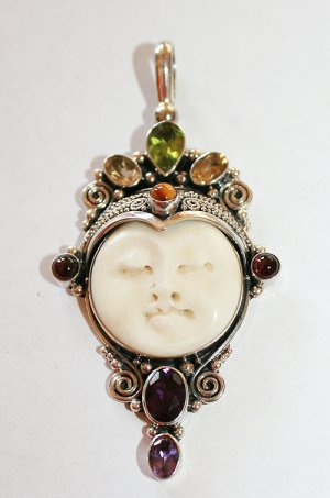 Sterling Silver Moon Goddess Pendant w Peridot Citrine Garnet Amethyst Cat's Eye