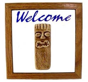 Hawaiian Hand Made Teal Ceramic + Wood Tiki God Ku Hand Made Sign Wall Hanginglc