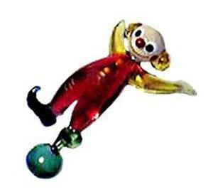 Czech Art Glass Hand Blown Cutest Circus Clown Lays Down Playing Foostie w/ Ball