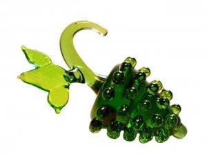 Czech Hand Blown Miniature Art Glass Fruit Green Grapes Cluster Bunch