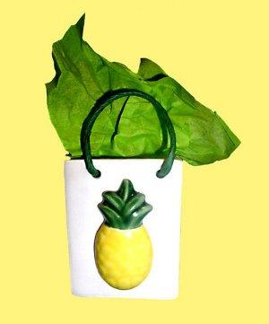 Hawaiian Ceramic Gift Bag Pen Pencil Holder Ornament Pineapple Natural Rope