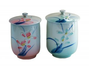 Japanese Vintage Fine China Porcelain Hand Painted His Her Tea Cups w Lids 4 pcs
