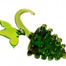 Czech Hand Blown Miniature Art Glass Fruit Green Grapes Cluster Bunch 2 PIECES