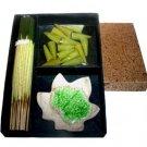 Green Tea Scented Incense Cones Sticks Ceramic Leaf Celadon Burner Gift Set Box