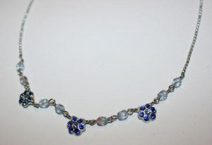 SALE! Swarovski Blue Crystal Dainty Flower Necklace Choker Hand Made Czech