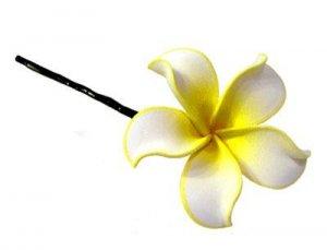 Hawaiian Hand Made Plumeria Flower Hair Bobby Pin White Yellow