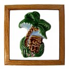 Hawaiian Hand Made Ceramic + Wood Wall Art Sign Hanging Decor Tiki Palm Tree