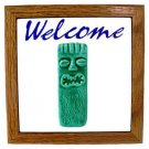 Hawaiian Hand Made Teal Ceramic + Wood Tiki God Ku Welcome Sign Wall Hanging