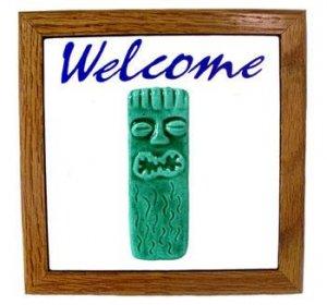 Hawaiian Hand Made Teal Ceramic + Wood Tiki God Ku Welcome Sign Wall Hanging