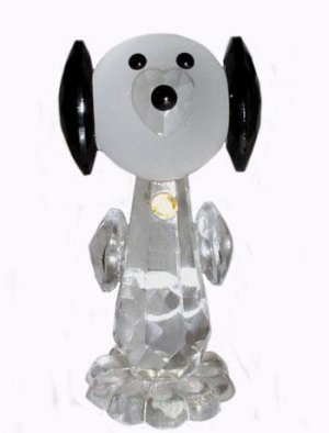 Czech Bohemian Hand Made Faceted Crystal Puppy Dog Figurine Snoopy Heart Nose