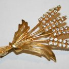 Sparkling! Swarovski Clear Crystal Gold Tone Flowers  Brooch Pin Broach, Czech