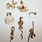 3.979 Grams 14K Yellow Gold Stamped Charm Charms 7 PCS Ring Sun Rose Scrap or No